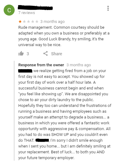 Someone complaining about rude management at a restaurant they just got fired from