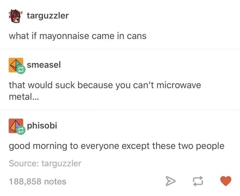 Text - targuzzler what if mayonnaise came in cans smeasel that would suck because you can't microwave metal... phisobi good morning to everyone except these two people Source: targuzzler 188,858 notes