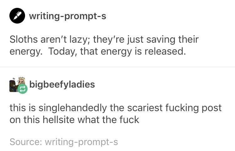 Text - writing-prompt-s Sloths aren't lazy; they're just saving their energy. Today, that energy is released. bigbeefyladies this is singlehandedly the scariest fucking post on this hellsite what the fuck Source: writing-prompt-s