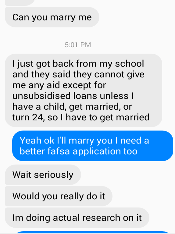 Two friends texting about potentially getting married