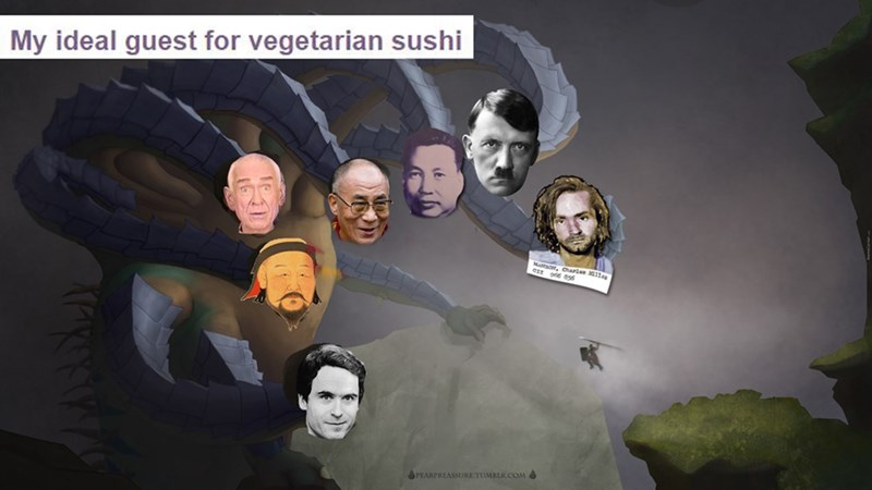 anti vegan meme about historical vegan figures to invite for dinner