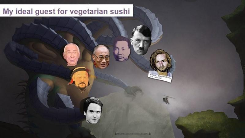 anti vegan meme about historical vegan figures to invite for dinner