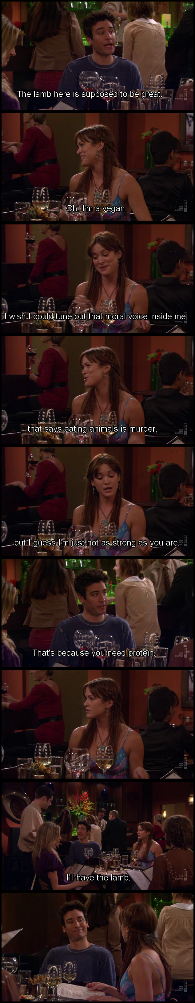 How I Met Your Mother scene of vegan getting owned