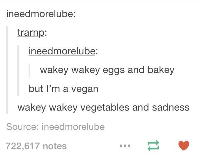 meme about vegan food being sad