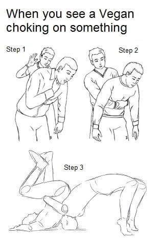 meme about performing the Heimlich maneuver on choking vegan but turning it into a German Suplex