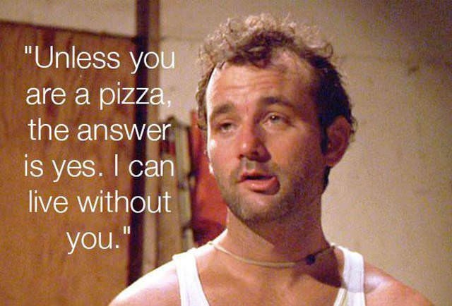 """Chin - """"Unless you are a pizza the answer is yes. I can live without you."""""""