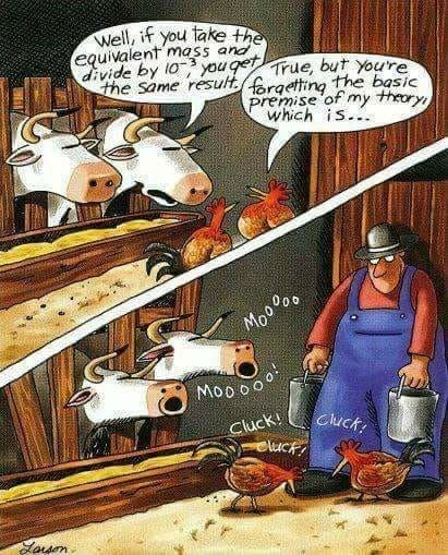 cow webcomics - Cartoon - Well, if you take the equivalent mass and divide by l0 you geTrue, but youre the same resultrgetting the basic premise of my theory which is... Moo ao Moo oo Cluck! eluc Cluck