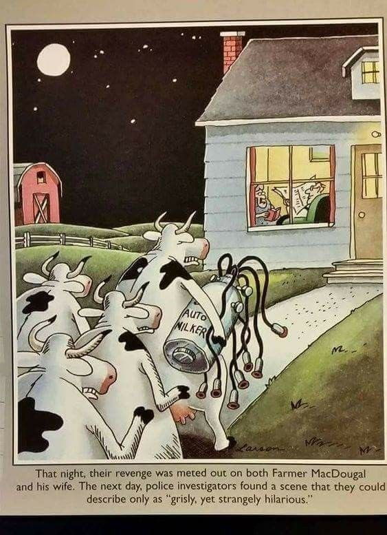 "cow webcomics - Cartoon - AUTO NILKER Laraon That night, their revenge was meted out on both Farmer MacDougal and his wife. The next day, police investigators found a scene that they could grisly, yet strangely hilarious."" describe only as"