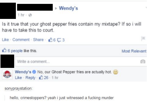 Funny wendys burn tumblr facebook.