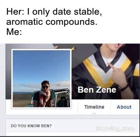 Text - Her: I only date stable, aromatic compounds. Me: Ben Zene Timeline About DO YOU KNOW BEN? kapwing.com