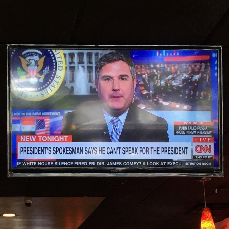 News - NOT IN THE PARIS AGREEMENT COMING UP PUTIN TALKS RUSSIA PROBE IN NEW INTERVIEW NEW TONIGHT LIVE CNN PRESIDENT'S SPOKESMAN SAYS HE CAN'T SPEAK FOR THE PRESIDENT 2:43 PM PT HE WHITE HOUSE SILENCE FIRED FBI DIR. JAMES COMEY? A LOOK AT EXECU SITUATION ROOM INSIGNA STATES ITED