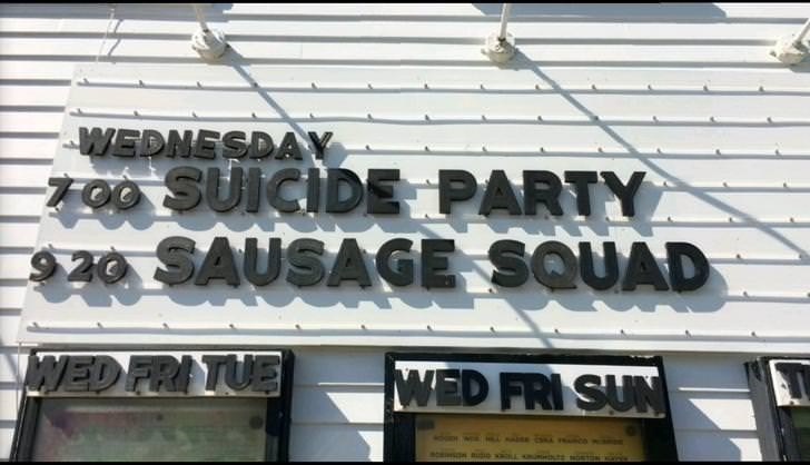 Font - WEDNESDAY FOO SUICIDEPARTY 920 SAUSAGE SQUAD WED FRI TUE WED FRI SUN