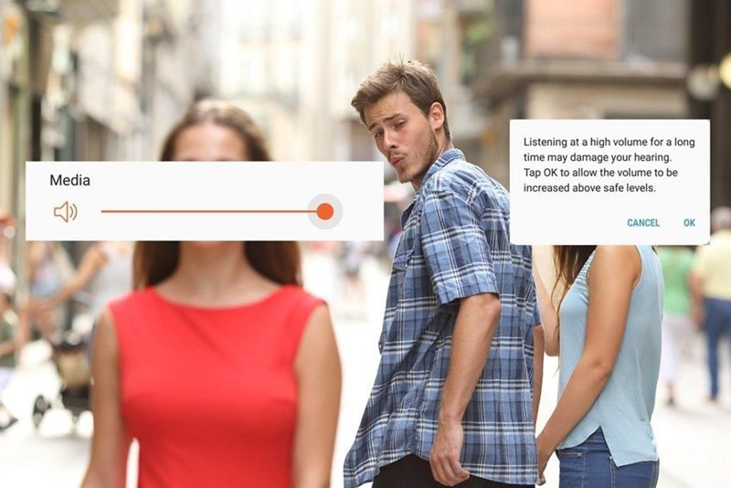 Funny distracted boyfriend meme about volume.