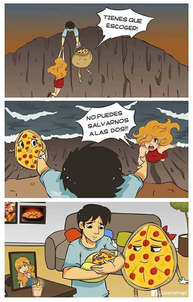 eleccion dificil entre pizza y pareja