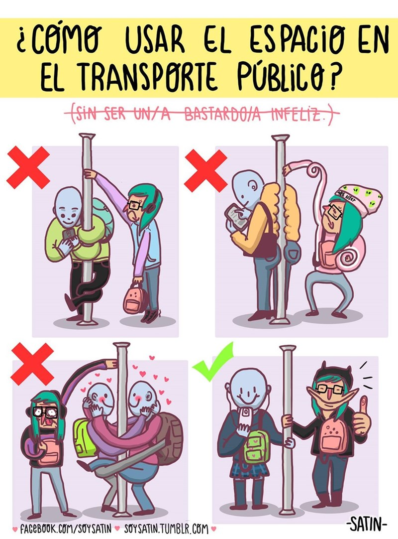 guia ilustrada sobre como andar en el transporte publico