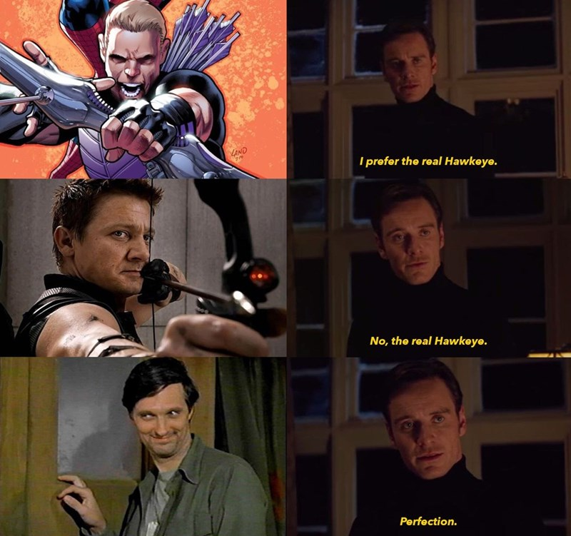 Fictional character - LAND I prefer the real Hawkeye. No, the real Hawkeye. Perfection.