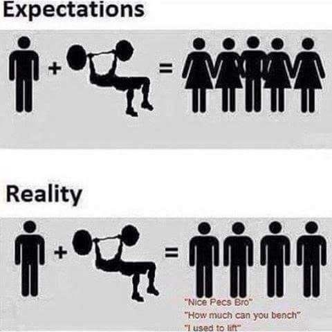 """Font - Expectations Reality NIce Pecs Bro How much can you bench """"I used to lift"""