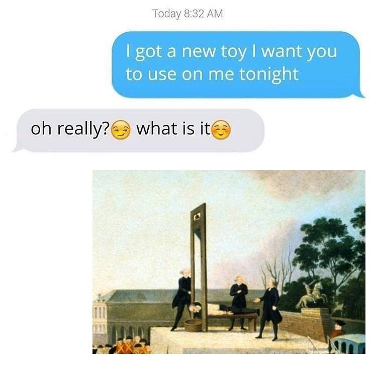 Funny meme about guillotine, texting.