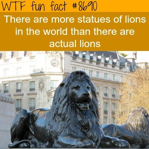 weird fact about how there are more statues of llions in the world than actual lions