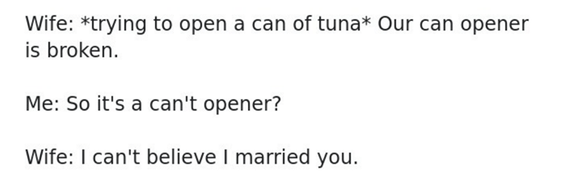 Text - Wife: *trying to open a can of tuna* Our can opener is broken. Me: So it's a can't opener? Wife: I can't believe I married you.