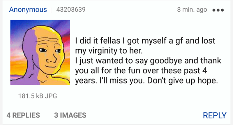 wholesome meme - Text - 8 min. ago Anonymous | 43203639 I did it fellas I got myself a gf and lost my virginity to her. I just wanted to say goodbye and thank you all for the fun over these past 4 years. I'll miss you. Don't give up hope. 181.5 kB JPG REPLY 4 REPLIES 3 IMAGES