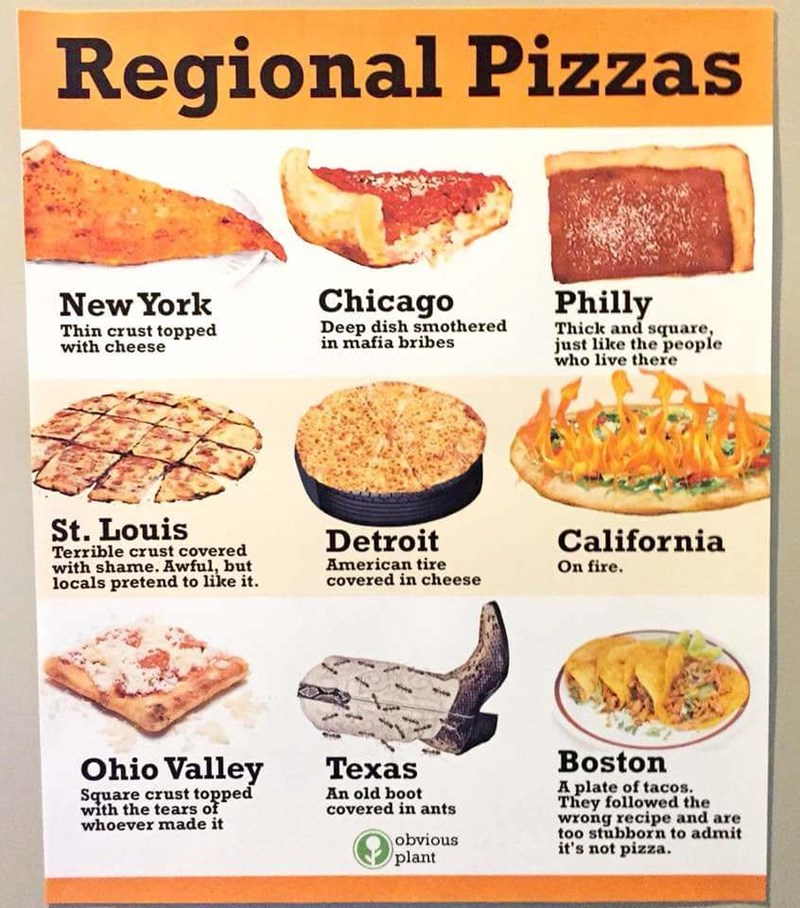 Cuisine - Regional Pizzas Chicago Philly New York Deep dish smothered in mafia bribes Thick and square, just like the people who live there Thin crust topped with cheese St. Louis Terrible crust covered with shame. Awful, but locals pretend to like it Detroit California American tire covered in cheese On fire. Boston Ohio Valley Texas A plate of tacos They followed the wrong recipe and are too stubborn to admit it's not pizza. Square crust topped with the tears of whoever made it An old boot cov