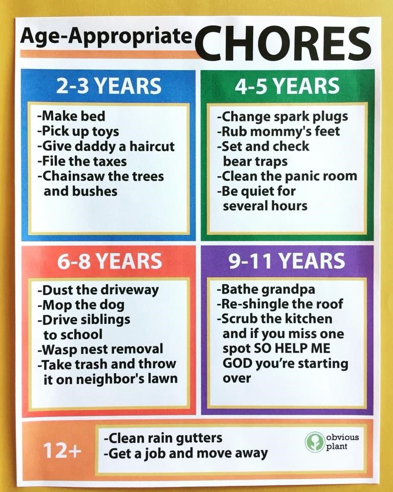 Text - Age-Appropriate CHORES 2-3 YEARS 4-5 YEARS -Make bed -Change spark plugs -Rub mommy's feet -Set and check bear traps -Clean the panic room -Be quiet for several hours -Pick up toys -Give daddy a haircut -File the taxes -Chainsaw the trees and bushes 9-11 YEARS 6-8 YEARS -Bathe grandpa -Re-shingle the roof -Scrub the kitchen and if you miss one spot SO HELP ME GOD you're starting -Dust the driveway -Mop the dog -Drive siblings to school -Wasp nest removal -Take trash and throw it on neighb