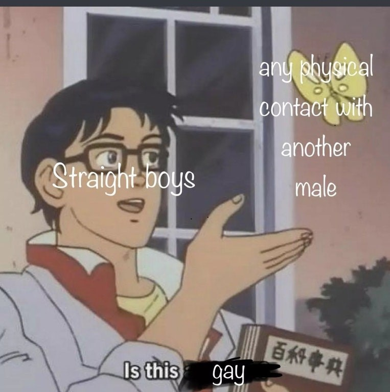 Anime meme of straight guys asking if any physical contact with another guy is gay