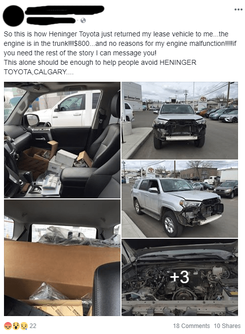 Land vehicle - So this is how Heninger Toyota just returned my lease vehicle to me...the engine is in the trunkl!!$800...and no reasons for my engine malfunction!!if you need the rest of the story I can message you! This alone should be enough to help people avoid HENINGER ΤΟYOTA,CALGARY. .. +3 22 18 Comments 10 Shares
