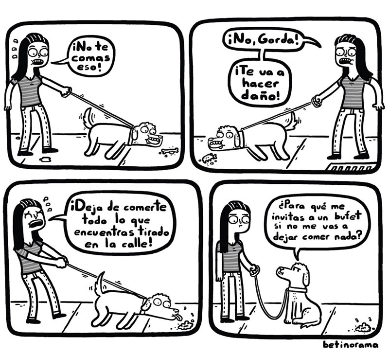 cuando sacas a tu perro a pasear y no lo dejas comer porquerias