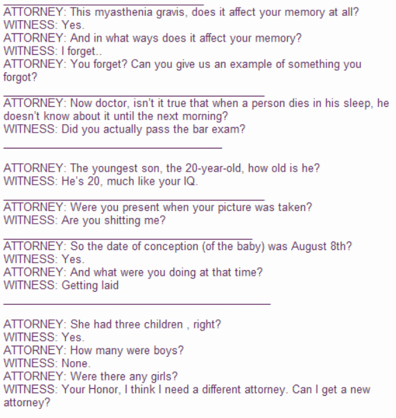 Text - ATTORNEY: This myasthenia gravis, does it affect your memory at all? WITNESS: Yes. ATTORNEY: And in what ways does it affect your memory? WITNESS: I forget... ATTORNEY: You forget? Can you give us an example of something you forgot? ATTORNEY: Now doctor, isn't it true that when a person dies in his sleep, he doesn't know about it until the next morning? WITNESS: Did you actually pass the bar exam? ATTORNEY: The youngest son, the 20-year-old, how old is he? WITNESS: He's 20, much like your