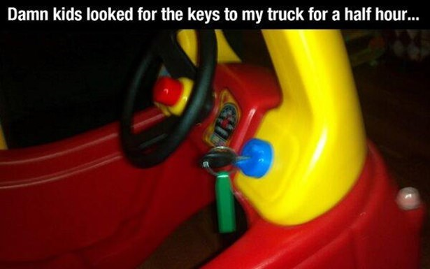 Red - Damn kids looked for the keys to my truck for a half hou...