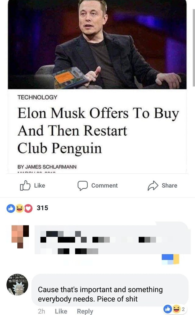 Text - TECHNOLOGY Elon Musk Offers To Buy And Then Restart Club Penguin BY JAMES SCHLARMANN Like Share Comment 315 Cause that's important and something everybody needs. Piece of shit 2 2h Like Reply