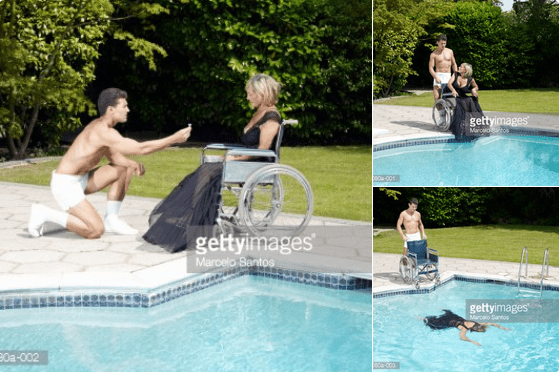 Man proposing to a woman in a wheelchair and then pushing her into a swimming pool