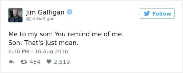 Text - Jim Gaffigan @imGaffigan Follow Me to my son: You remind me of me. Son: That's just mean 6:30 PM 16 Aug 2016 t484 2,519