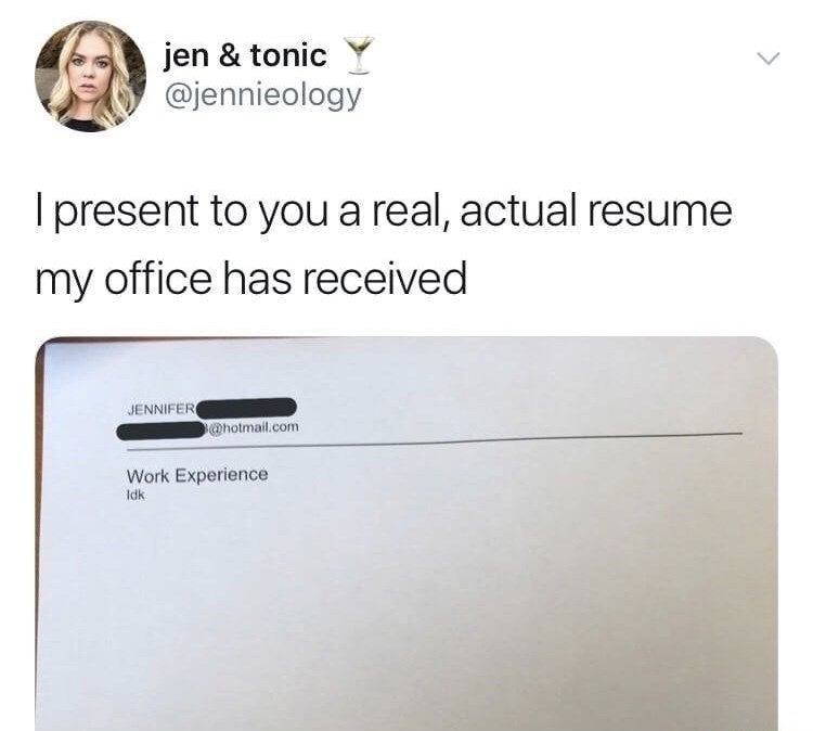Tweet of a completely blank resume