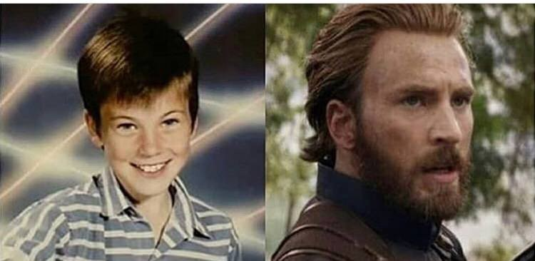 Chris Evans now and as a child