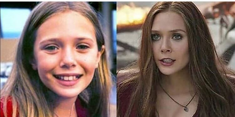 Elizabeth Olsen now and as a child