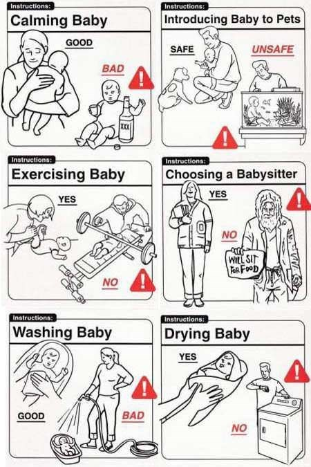 White - Instructions Instructions: Calming Baby Introducing Baby to Pets GOOD SAFE UNSAFE BAD Instructions: Instructions: Exercising Baby Choosing a Babysitter YES YES NO WILL SIT FaR FOOD NO Instructions: Instructions: Washing Baby Drying Baby YES BAD GOOD NO