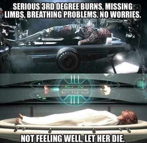 Vehicle - SERIOUS 3RD DEGREE BURNS, MISSING LIMBS, BREATHING PROBLEMS. NO WORRIES. NOT FEELING WELL, LET HERDIE