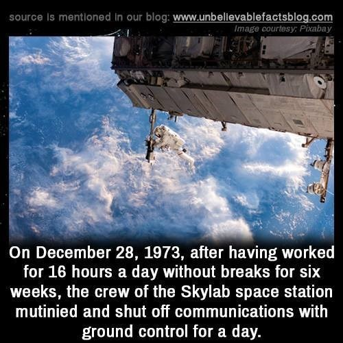 Sky - source Is mentioned In our blog: www.unbellevablefactsblog.com Image courtesy Pixabay On December 28, 1973, after having worked for 16 hours a day without breaks for six weeks, the crew of the Skylab space station mutinied and shut off communications with ground control for a day.