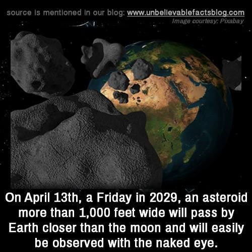 Earth - source Is mentioned in our blog: www.unbellevablefactsblog.com Image courtesy Pixabay On April 13th, a Friday in 2029, an asteroid more than 1,000 feet wide will pass by Earth closer than the moon and will easily be observed with the naked eye.