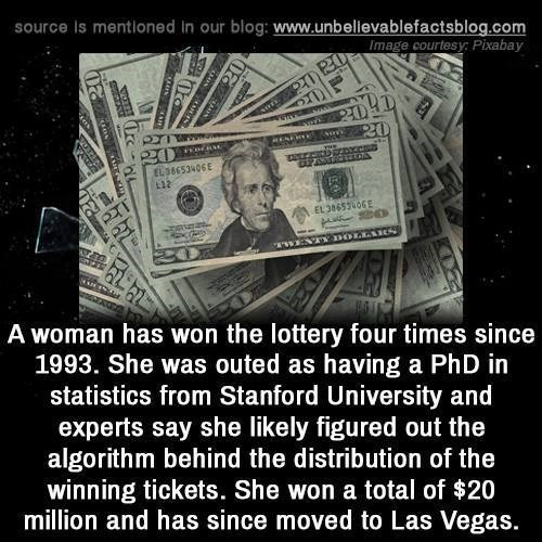 """Cash - source Is mentioned in our blog: www.unbellevablefactsblog.com Image courtesy: Pixabay य) 204D 20 20 EL38E53406E PENE L22 या EL 38453406 Ma """"TWENY DOLKAKS A woman has won the lottery four times since 1993. She was outed as having a PhD in statistics from Stanford University and experts say she likely figured out the algorithm behind the distribution of the winning tickets. She won a total of $20 million and has since moved to Las Vegas. 20"""