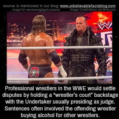 """Wrestler - source is mentioned in our blog: www.unbellevablefactsblog.com Image for representational purpose Image Credit:Simon via flickr.com Professional wrestlers in the WWE would settle disputes by holding a """"wrestler's court"""" backstage with the Undertaker usually presiding as judge. Sentences often involved the offending wrestler buying alcohol for other wrestlers."""