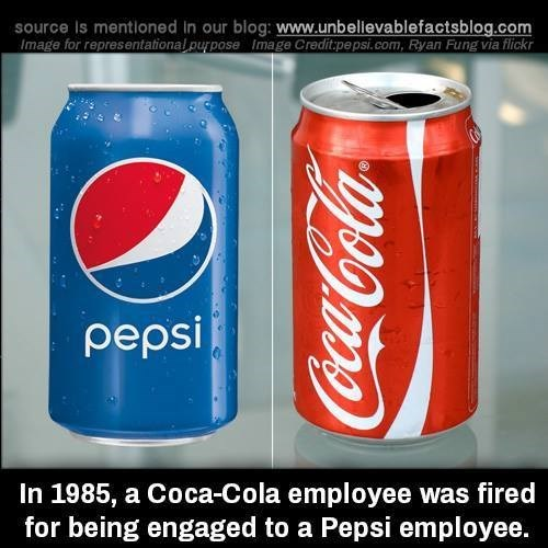 Beverage can - source Is mentloned in our blog: www.unbellevablefactsblog.com Image for representational purpose mage Credit.pepsi.com, Ryan Fung via flickr pepsi In 1985, a Coca-Cola employee was fired for being engaged to a Pepsi employee. CocaCola