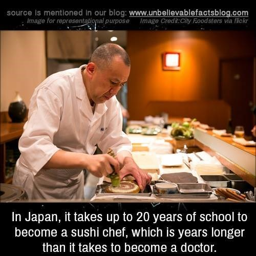 Cook - source Is mentloned in our blog: www.unbellevablefactsblog.com Image for representational purposeImage Credit:City Foodsters via fickr In Japan, it takes up to 20 years of school to become a sushi chef, which is years longer than it takes to become a doctor.