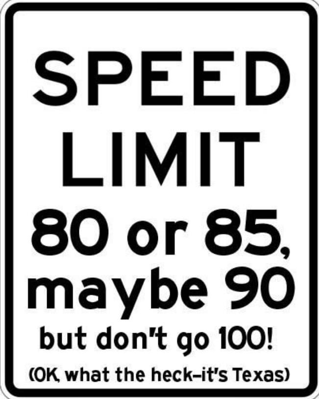 Font - SPEED LIMIT 80 or 85 maybe 90 but don't go 100! (OK what the heck-it's Texas)