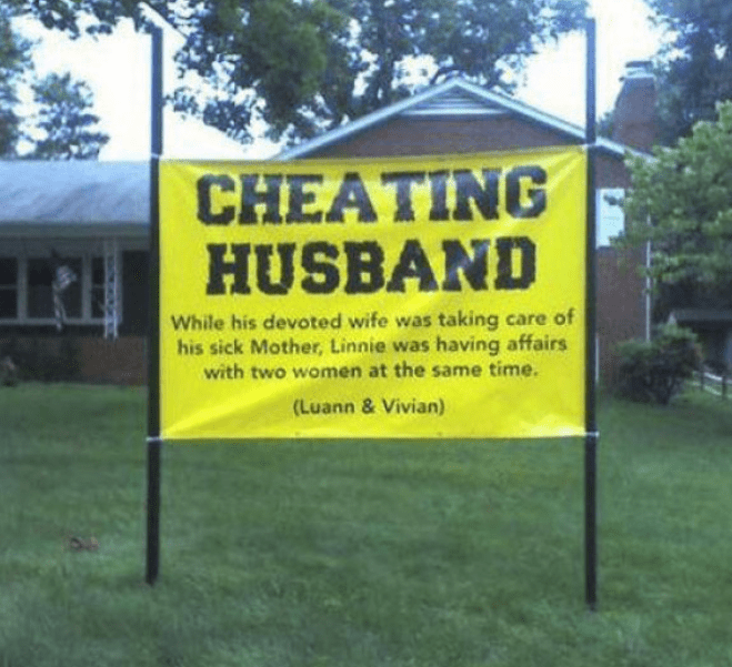 Property - CHEATING HUSBAND While his devoted wife was taking care of his sick Mother, Linnie was having affairs with two women at the same time. (Luann & Vivian)