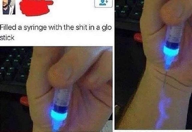 pics of person injecting themselves with the liquid from a glow stick
