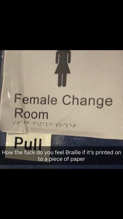 pic of a door sign with Braille just plainly printed on it